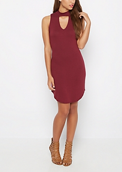 Burgundy Keyhole High Neck Dress