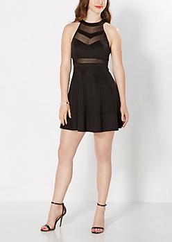 Black Chevron Mesh Halter Skater Dress