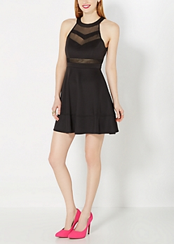 Chevron Mesh Halter Party Dress