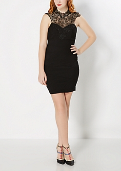 Lace High Neck Bodycon LBD