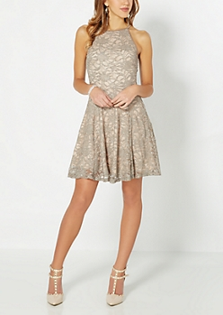 Sparkly Lace High Neck Skater Dress