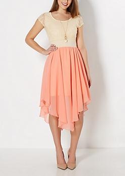 Peach Hanky Hem Dress