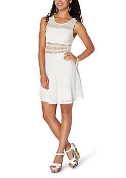 White Crochet Illusion Skater Dress