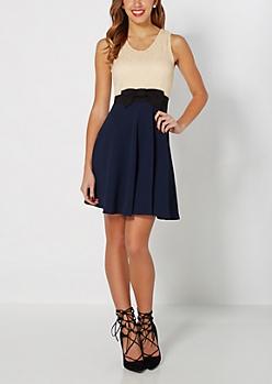 Lacy Navy Skater Dress