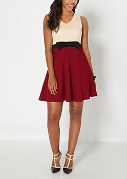 Lacy Burgundy Skater Dress