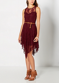 Dark Purple Lace Sweetheart Dress
