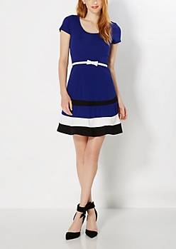 Royal Blue Bow Charmer Skater Dress