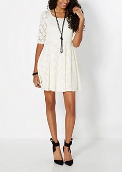 Ivory Lace Skater Dress