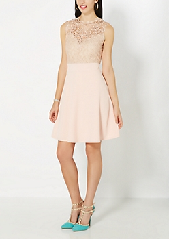 Pink First Lace Impression Skater Dress