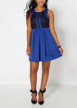 Blue Lace Caged Skater Dress