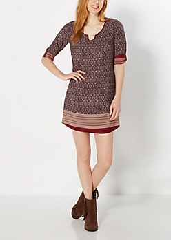 Burgundy Bohemian Shift Dress