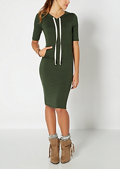 Olive Green Hoodie Dress