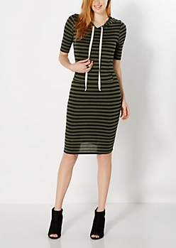 Striped Olive Green Hoodie Dress