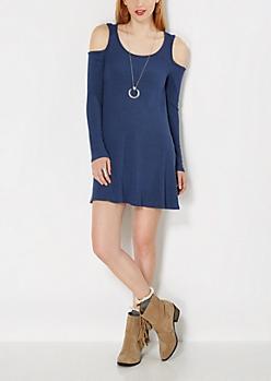 Navy Knit Cold Shoulder Dress