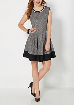 Shimmering Collar Dinner Dress