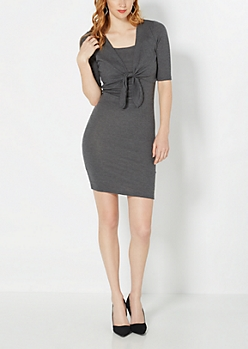 Tie-Front Knit Dress