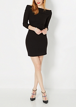 Black Hacci Cowl Neck Dress