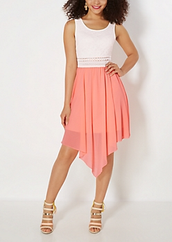 Neon Chiffon Illusion Hanky Dress