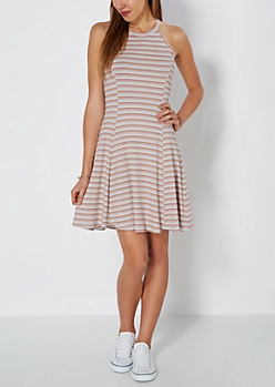 Retro Striped Skater Dress