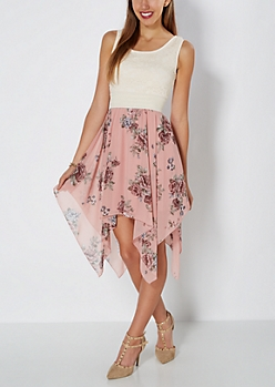 Pink Rose Sharkbite & Lace Dress