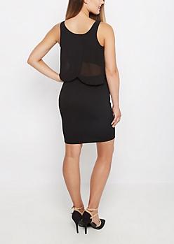 Black Chiffon Popover Dress