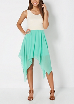 Mint Rosy Chiffon Sharkbite Dress