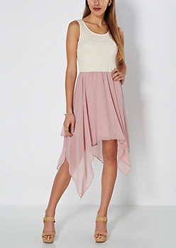 Pink Rosy Chiffon Sharkbite Dress