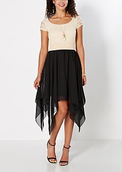 Black Lace Bodice Hanky Hem Dress
