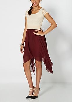 Burgundy Lace Bodice Hanky Hem Dress