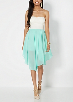 Light Green Flutter Hem Sweetheart Tube Dress