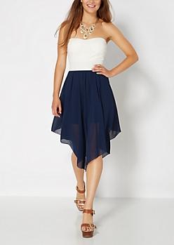 Navy Flutter Hem Sweetheart Tube Dress