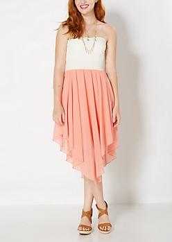 Peach Flutter Hem Sweetheart Tube Dress