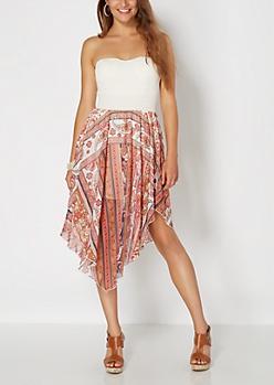 Peach Boho Scarf Tube Dress