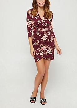 Floral Wrap Bodycon Dress