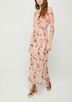 Pink Floral Sheer Wrap Maxi Dress
