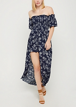 Navy Boho Smocked Off Shoulder Maxi Romper