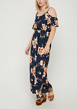 Navy Floral Cold Shoulder Maxi Dress