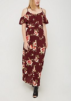 Burgundy Floral Cold Shoulder Maxi Dress