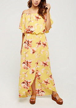 Yellow Floral Wrap Off Shoulder Dress