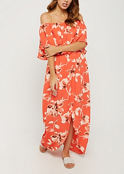 Orange Floral Wrap Off Shoulder Dress