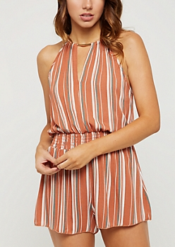 Striped Metal Bar Keyhole Romper