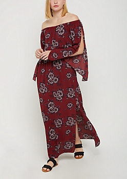 Burgundy Floral Off Shoulder Split Sleeve Dress