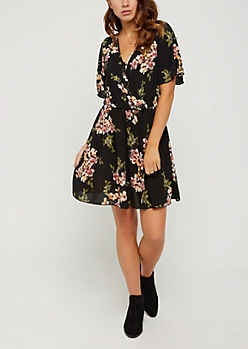 Black Blossoming Surplice Wrap Dress
