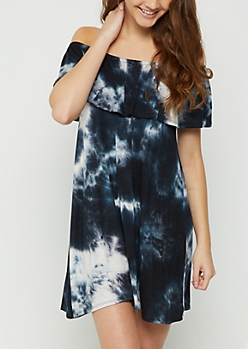 Navy Tie Dye Flounce Off Shoulder Dress