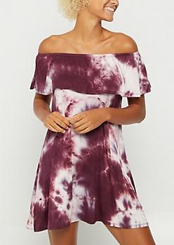 Burgundy Tie Dye Flounce Off Shoulder Dress