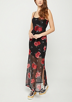 Red Rose Mesh Maxi Dress