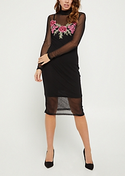 Floral Embroidered Dotted Swiss Dress