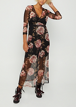 Black Floral Sheer Wrap Maxi Dress