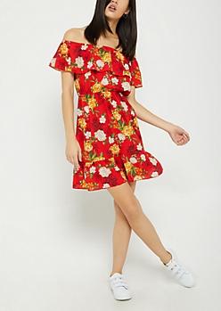 Red Floral Flounce Off Shoulder Dress