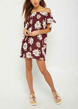 Burgundy Floral Off Shoulder Shift Dress